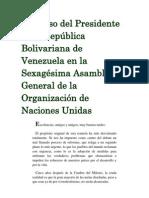 Discurso del Presidente de la República Bolivariana de Venezuela en la Sexagésima Asamblea General de la Organización de Naciones Unidas