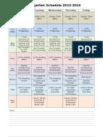 Kindergarten Weekly Schedule