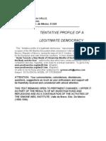 TENTATIVE PROFILE OF A LEGITIMATE DEMOCRACY BY Sylvia Ma VALLS