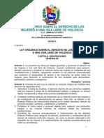Ley Organica Sobre El Derecho de Las Mujeres a Una Vida Libre de Violencia