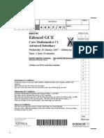 Edexcel GCE Core 1 Mathematics C1 jan 2007 6663/01 question paper