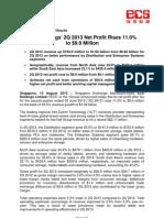 SGX-Listed ECS Holdings 2Q 2013 Net Profit Rises 11.0% to $9.0 Million