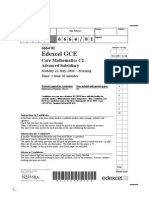 Edexcel GCE Core 2 Mathematics C2 advanced subsidary May 2006 6664/01 question paper