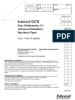 Edexcel GCE MATHEMATICS CORE  C1 to C4 Specimen QP + MS