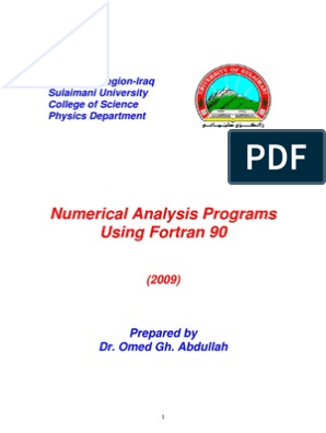 Fortran Numerical Analysis Programs | Numerical Analysis | Least Squares
