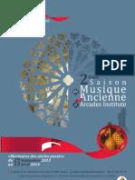 """Programme de la """"2ème saison de musique ancienne à Arcades Institute"""