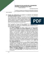 Analisis Del Sistema de Evaluacion Del Desempeno Profesional Docente en El Peru Version Preliminar