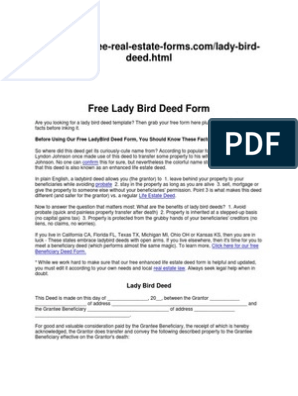 Free Lady Bird Deed Form   Deed   Common Law