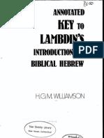 Lambdin Hebrew Answer Key (Beginning material)