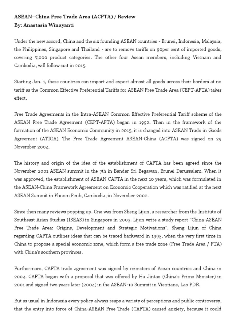 Asean China Free Trade Area Review Association Of Southeast