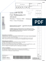 Edexcel GCE core 3 mathematics C3 6665/01 advanced subsidiary jan 2008 question paper