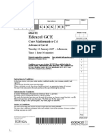 Edexcel GCE core 4 mathematics C4 6666/01 advanced subsidiary jan 2007 question paper
