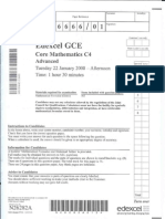 Edexcel GCE core mathematics C4 6666/01 advanced subsidiary jan 2008 question paper