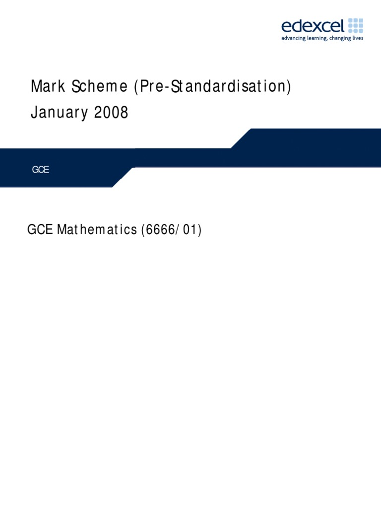 Edexcel GCE core 4 mathematics C4 6666 advanced subsidiary jan 2008 mark  scheme