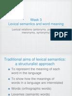 Lexical Semantics Week 4