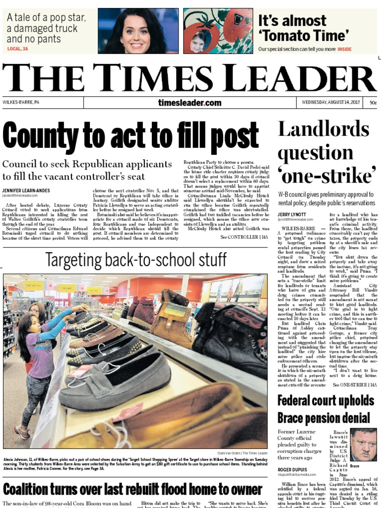 Times Leader 08 14 2013 Us Airways Israel T Shirt Surfing Kaos 3second A0168