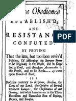 Passive Obedience Established 1713