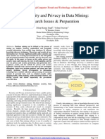 Data Security and Privacy in Data Mining: Research Issues & Preparation