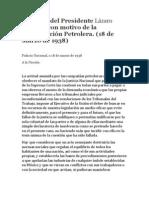 Discurso del Presidente Lázaro Cárdenascon motivo de la Expropiación Petrolera