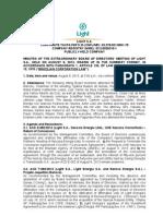 Minutes of Board of Directors Meeting 08 08 2013