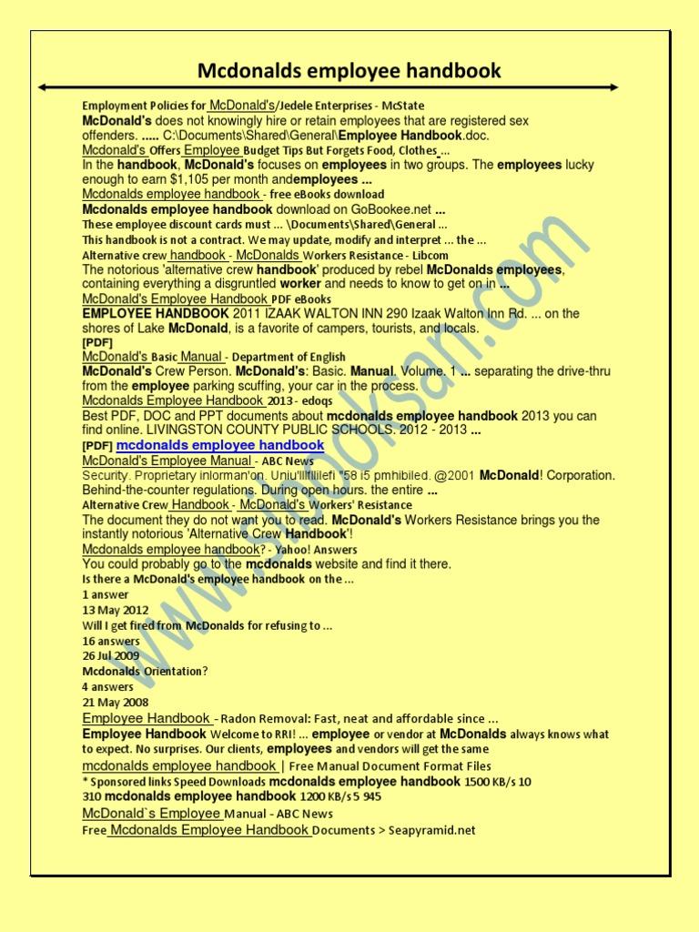 Mcdonalds Employee Handbook   Mc Donaldu0027s   Employment