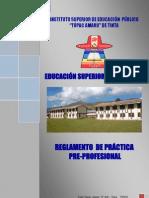 Reglamento de Practica Pre Profesional ISEPTA Tinta