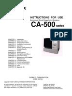 Sysmex CA-500 Blood Coadulation Analyzer - Instruction Manual