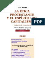 MAX WEBER LA ÉTICA PROTESTANTE Y EL ESPÍRITU DEL CAPITALISMO