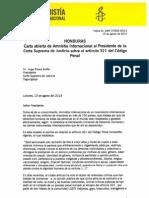 Carta abierta de Amnistía Internacional al Presidente de la Corte Suprema de Justicia sobre el artículo 321 del Código Penal