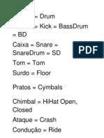 Nomenclaturas Bateria e Percussão