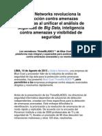 Solera Networks revoluciona la protección contra amenazas avanzadas al unificar el análisis de seguridad de BigData