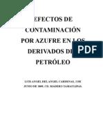 Efectos de Contaminacion Por Azufre en Derivados Del Petroleo.