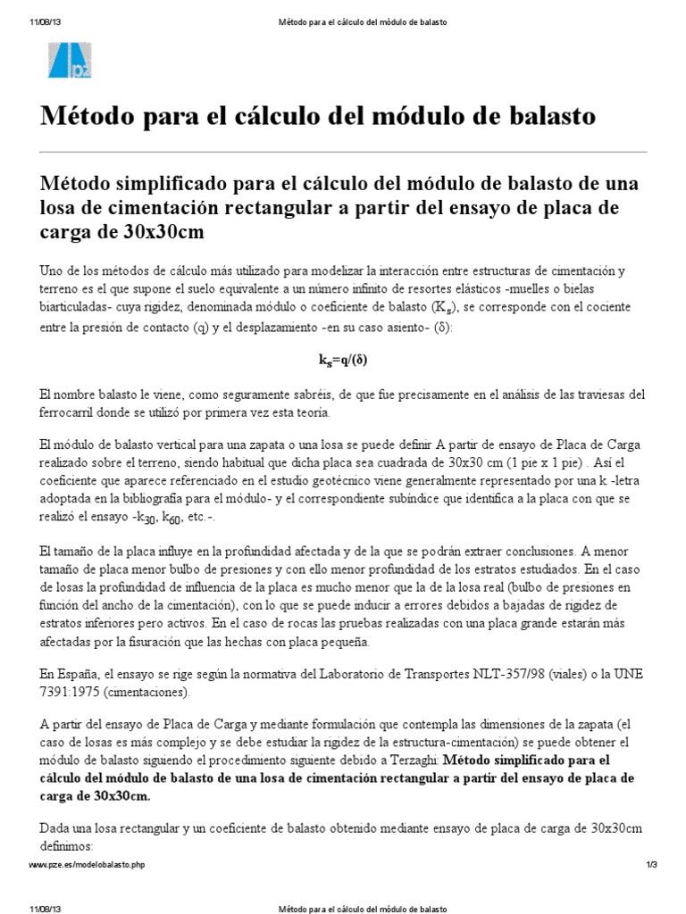 Método Para El Cálculo Del Módulo De Balasto Pdf