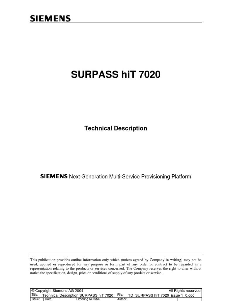 surpass hit 7020 technical description iss 01 computer network rh es scribd com siemens surpass hit 7020 manual
