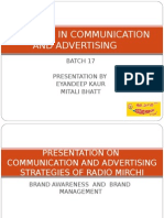 Communication and Advertising Strategies of Radio Mirchi1