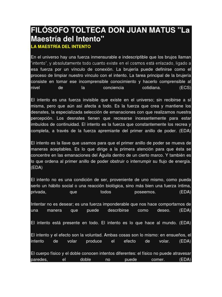 FILÓSOFO TOLTECA DON JUAN MATUS INTENTO