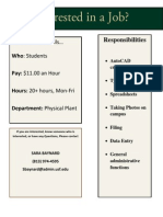 Physical Plant Part Time Position 4-2-13