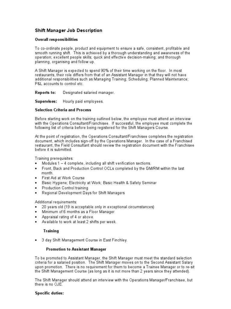 Shift Running Floor Manager   Job Description | Franchising | Team Building