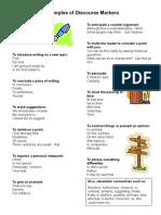Discourse Marker Student Sheet