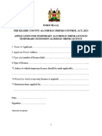 Liqour Licence Application Forms