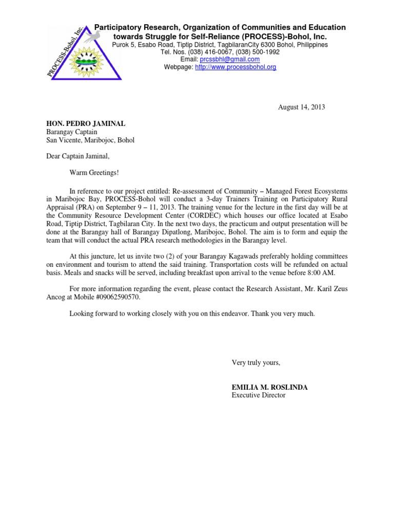 Sample invitation letter stopboris Gallery