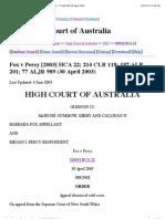 Fox v Percy [2003] HCA 22
