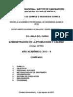 ADMINISTRACIÓN DE LA PRODUCCIÓN Y CALIDAD   2013 - II - SECCION II