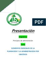 Elementos Esenciales de La Planeacion y La Administracion Por Objetivos