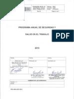 Programa Anual de Seguridad y Salud en El Trabajo 2013