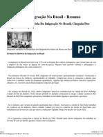 História Da Imigração No Brasil - Resumo