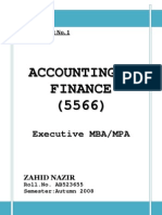 Assignment Acc. & Finance Col MBA Semester 1