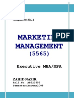 Assignment Marketing Col MBA Semester 1