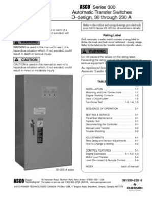 Asco Series 300 Ats Operators Manual | Switch | Relay on
