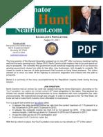 August Legislative Newsletter from Senator Neal Hunt